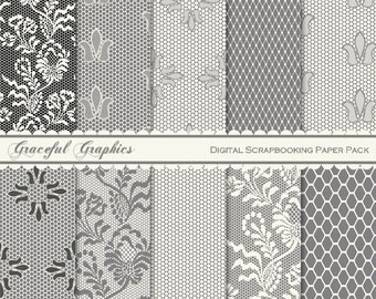 Scrapbook Paper Pack Digital Scrapbooking Background Papers GIRLY Gray n Ivory LACE tulle NETTING Fishnet Pack 10 8.5 x 11 1626gg
