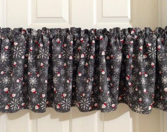 Christmas curtains, Christmas valances, Christmas decor, Holiday decor, Holiday Curtains, Country Christmas, Santa decor, kitchen curtains