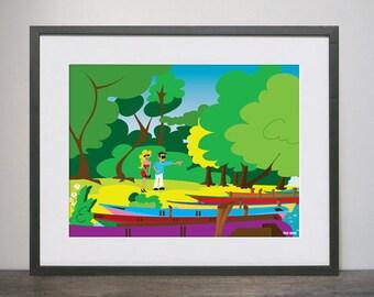 Waterscape art print, modern art, nature, woodland print, romantic print