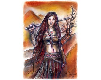 Lady Warrior - Original drawing, fantasy art signed ready to frame