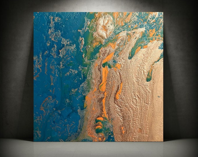 "Copper Painting 24"" x 24"", Acrylic Painting on Canvas, Abstract Painting, Contemporary Art, Large Wall Art, Art Copper Teal Blue Painting"