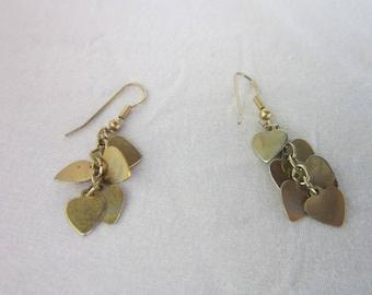 Vintage Multiple Heart Dangle Pierced Earrings