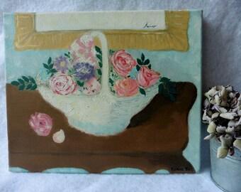 Vintage Tableau Painting Oil on Canvas The Floral Basket, flowers, Nabis, Impressionism, Art, Roses, Shabby, France, Naive, Romantic,Bouquet