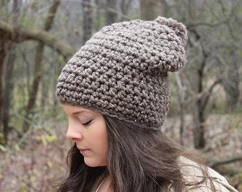 Pom Pom Hat, Slouchy Hat, Slouchy Beanie, Crochet Beanie, Crochet Hat, Winter Hat, Brown Women's Hat, Brown Beanie, Brown Hat, THE HUDSON