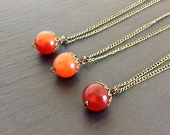 carnelian necklace, orange necklace, carnelian jewelry, carnelian pendant, carnelian stone, crystal necklace, necklace, carnelian, boho