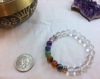 Chakra Balancing with Clear Quartz Gemstone Bracelet - Energy Bracelet - Healing Bracelet - Calming Bracelet - Boho Chic