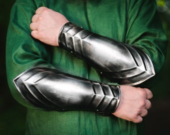 Blackened Steel LARP Armor - ARM PROTECTIONS - Steel Bracers  - Pair
