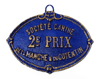 A french dog show trophy plaque circa 1926, French Canine 2nd Prize Trophy, Wall Mounted Dog Trophy, Blue and Gold Dog Trophy (607)