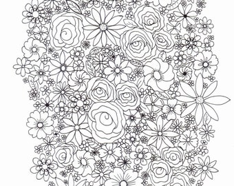 Adult colouring page - flowers