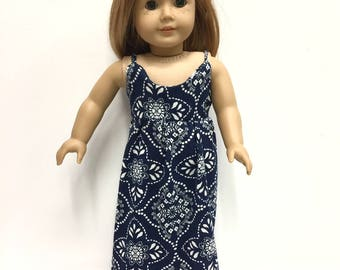 Ready to Ship - Blue Summer Maxi Dress - for American Girl Doll or other 18 in Dolls