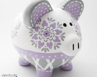 Dahlia Medallion Personalized Piggy Bank in Lavender and Grey