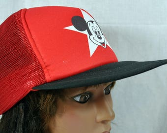 Mickey Mouse Mesh Baseball Cap - Walt Disney Vintage Hat - Adult Size - Made in Taiwan - Polyester and Nylon - Mickey Star