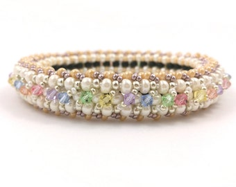 """Beading4perfectionists:  """"Moments in time"""" bangle bracelet beading pattern tutorial PDF file"""