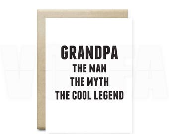 Printable grandpa etsy funny fathers card for grandpa the man the myth gift for grandpa birthday gift funny bookmarktalkfo Images