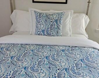 Twin Queen King Linen Duvet Cover/ Custom Richloom Alguna Denim Duvet Cover/ Designer Duvet/ Custom Linen  Duvet