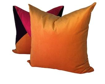Orange Velvet Pillow, Velvet Sofa Pillow, Bright Orange Pillow, Golden Orange Pillow Cover, Velvet Throw Pillow, Yellow Orange Pillow