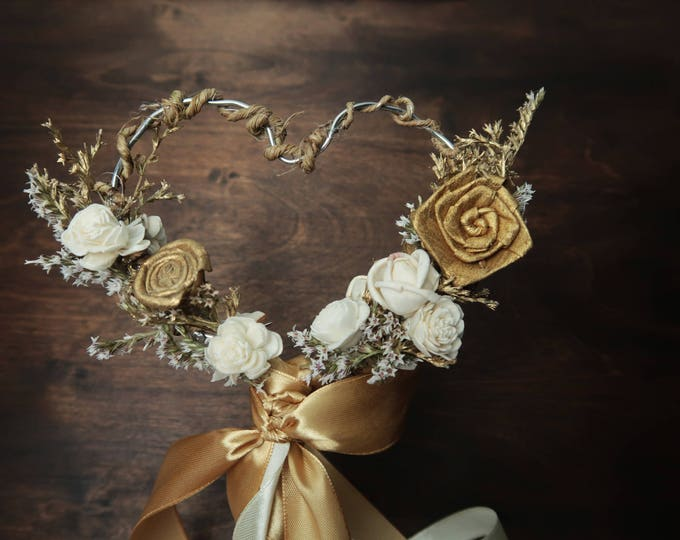 Gold ivory heart shaped flower girl wand elegant wedding bouquet retro sola flowers dried flowers satin ribbon carnival wedding