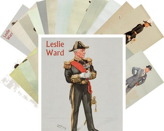 Postcards Set 24pcs * Man Portraits by Lelsie Ward Vintage Poster CC1098