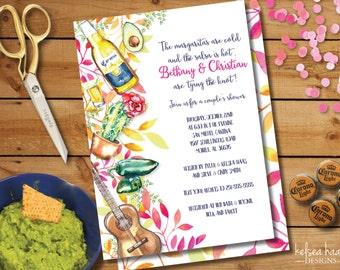 Fiesta Bridal Shower Invitation, Couples Shower, Printable, DIY, 5x7, Wedding Shower, Mexican Party Invite, Cinco De Mayo, Fiesta Shower