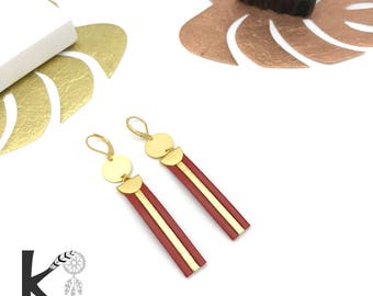 Red leather and gold dangling earrings matte