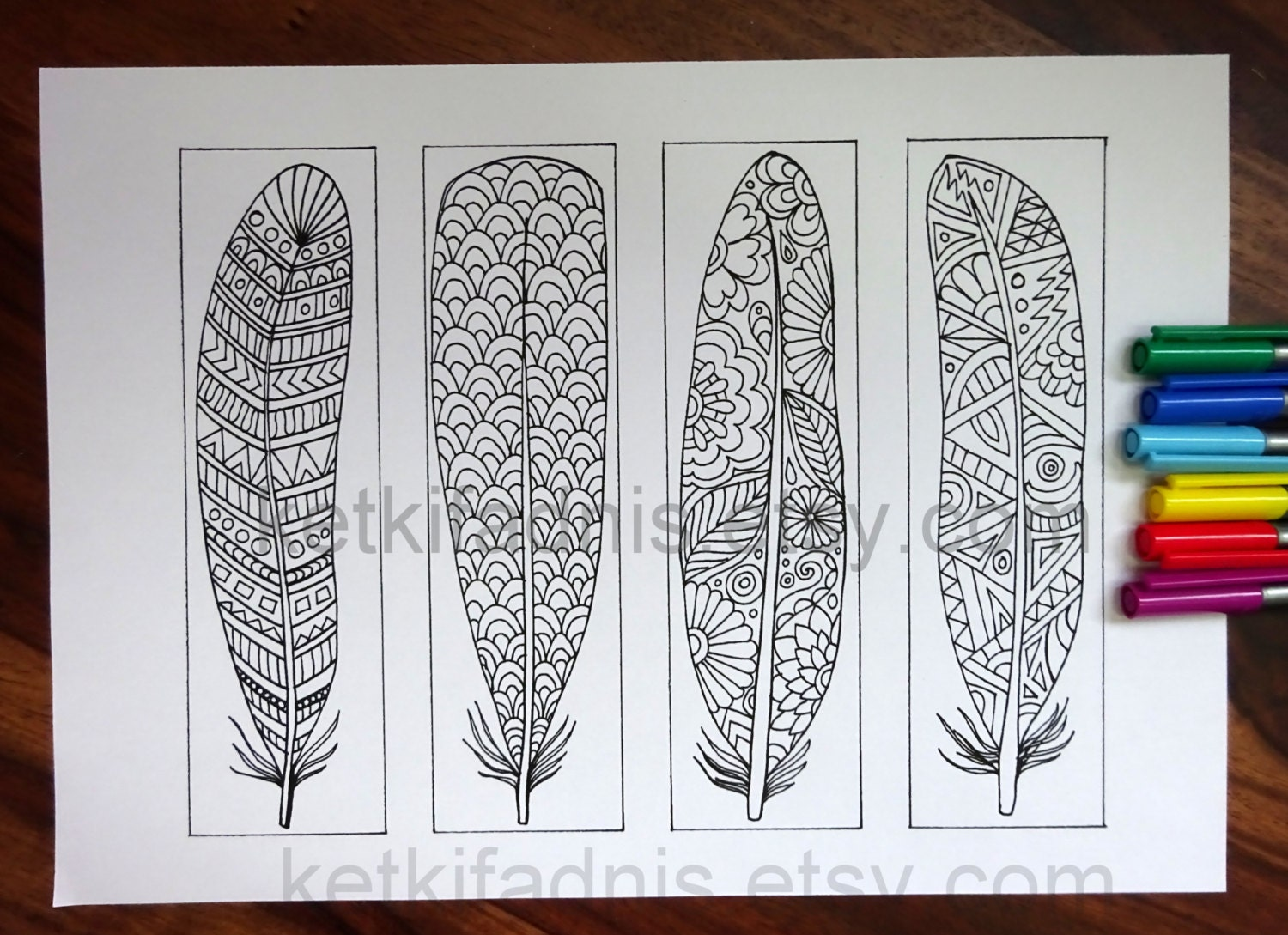 Coloring Bookmarks Feathers PDF Download To