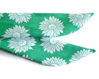 Sea Foam Green Head Scarf, Green White Head Scarf, Green Flower Head Scarf, Green White Hair Tie