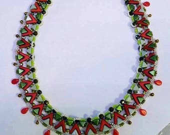 Tutorial - Ethnic Necklace - Ava beads, Kheops, O beads and Fire Polish beading tutorial