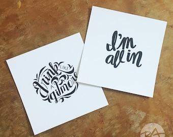 Girlmore Girls Mini Prints - I'm All In, Drink Like a Gilmore, Prints, Mini Prints, Gilmore Girls Quotes