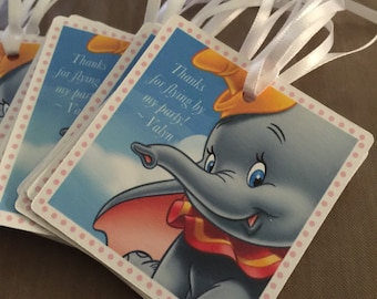 Dumbo Party Favors tag - thank you tags for party favors (SET of 12) 1st birthday, birthday thank you tags, Baby shower, party tags