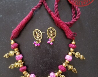 Red and Pink Cotton Thread Ganesha Necklace