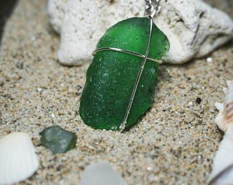 Green Maine Seaglass on Sterling Silver Chain long [23in]