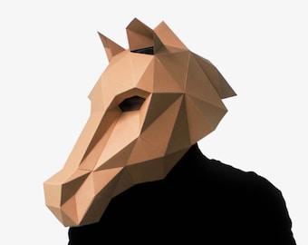 Horse Mask, DIY printable Stallion Mask, Instant Pdf download, DIY New Year Mask, Polygon Masks, Printable Mask