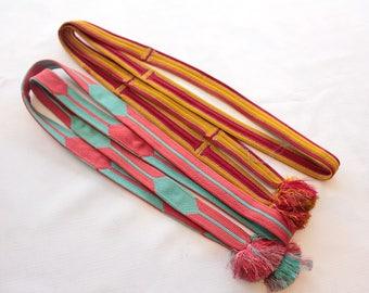 2 Vintage Japanese obijime, wider vintage style, used for maiko henshin