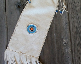 Beaded chanupa bag , Leather pipe bag , Fringed leather pipe bag