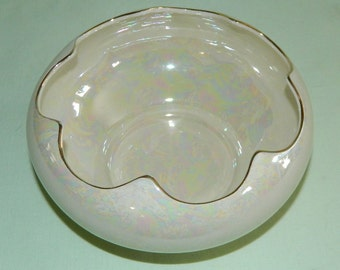 1940s Pearl China Co 22k Gold Trim Pearlized Lusterware Candy Dish Opalescent Glaze