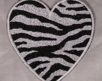 Embroidered Zebra Animal Print Black & White Faux Fur Heart Love Patch Iron On Sew On USA