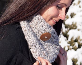 Handmade Chunky Button Cowl, Textured Cowl, Crochet Scarf - The Donna