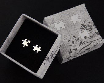 Silver Puzzle Stud Earrings, Handmade Puzzle Studs
