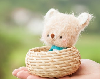 Miniature bear softie / stuffed animal bear / blythe pet toy / zakka - made to order- Mia