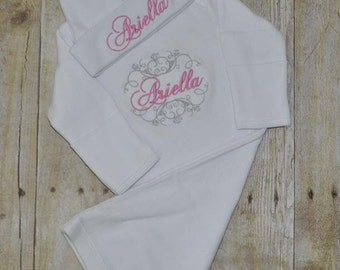 Personalized Embroidered Newborn Gown - Take Home Outfit
