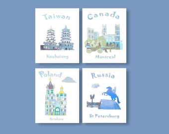 4,Baby boy nursery travel nursery, baby boy art print,traveln theme nursery,blue,Canada,Tawain,Poland,Russia