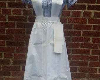 Vintage 1940's Nurse Uniform // Pinafore Candy Striper // Apron and Accessories
