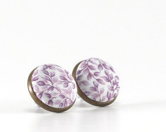 Stud Earrings - Lavender Lavender - Purple  Flowers Leaves on White Earring Studs - Shabby Romantic Chic Fabric Button Jewelry Antique Posts