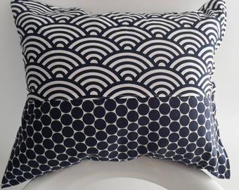 Navy Blue 45x40cm pillow cover and white. Japanese fabric