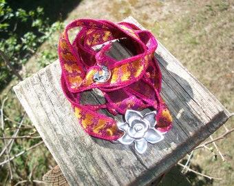 Boho Sari Silk Yoga Bracelet With Silver Flower Connector & Charms