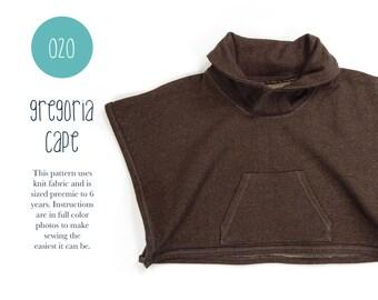 020 Gregoria Riding Cape PDF Sewing Pattern Little Girl Kid Baby Knit Jacket Preemie- 6T Easy to Sew Sadi & Sam