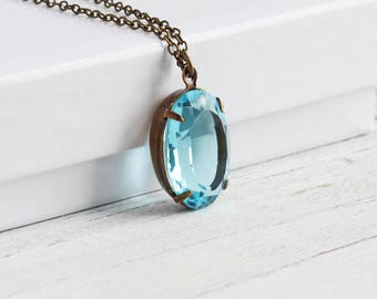 Aqua Blue Necklace, Oval Rhinestone Necklace on Antiqued Brass Chain, Blue Pendant Necklace, Vintage Glass, Retro Style Jewelry