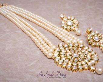 Elegant Queenly Kundan Flawless Pearl Pendent set