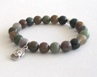 Mens Inspirational Jewelry, Gender Neutral Buddha Silver Charm Mala Bracelet, Anxiety Calming Chakra Bracelet, Beaded Bracelet, Worry Beads