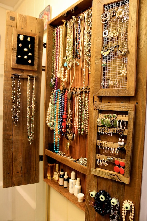 fetching sheetrock entertainment center. Jewelry Organizer Wall Mount Necklace Hung Wooden Cabinet  Ring Storage Holder Wood Furniture Handmade California USA